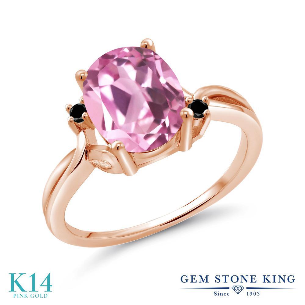 Gem Stone King 3.03カラット 合成ライトピンクサファイア 天然ブラックダイヤモンド 14金 ピンクゴールド(K14) 指輪 リング レディース 大粒 シンプル 金属アレルギー対応 誕生日プレゼント