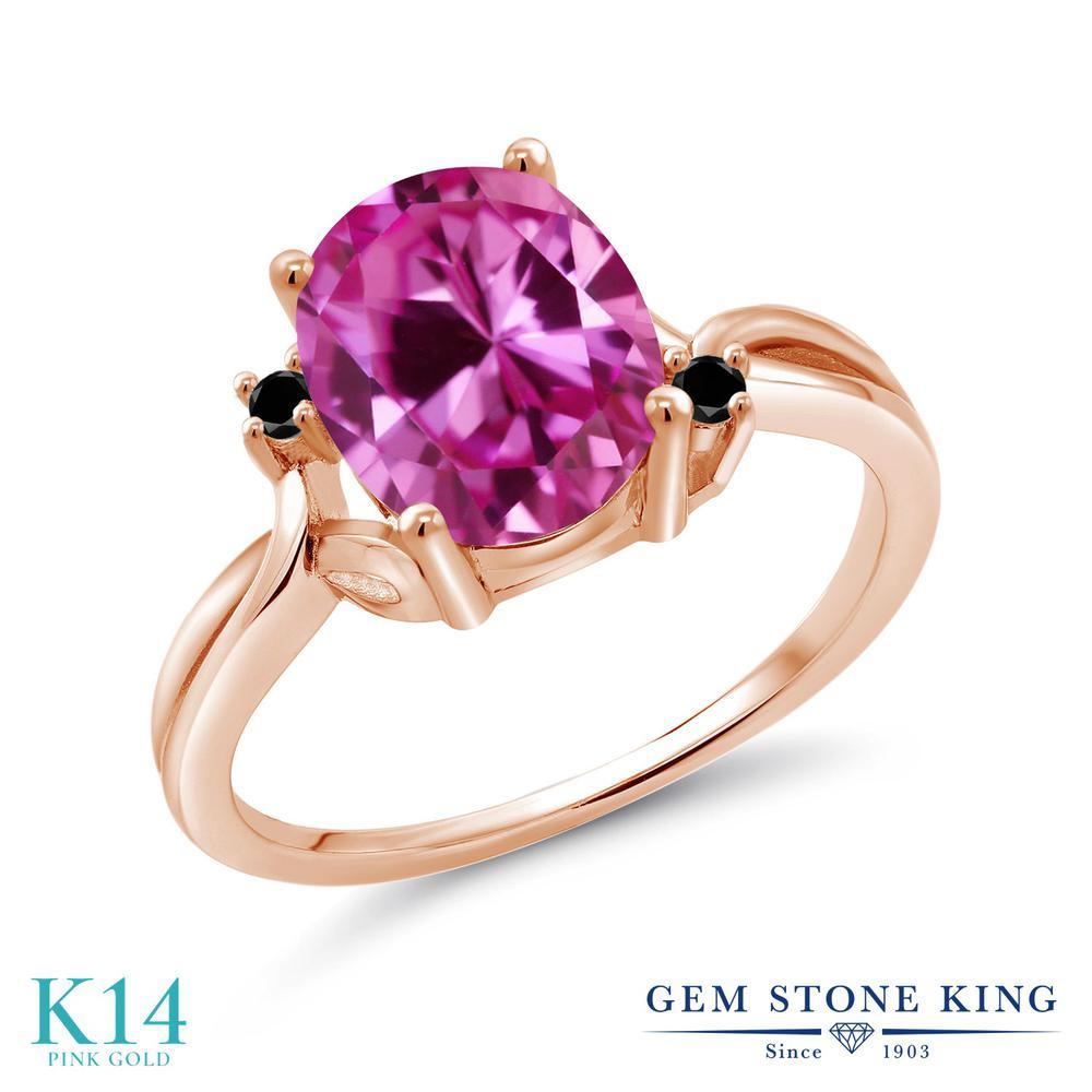 Gem Stone King 3.28カラット 合成ピンクサファイア 天然ブラックダイヤモンド 14金 ピンクゴールド(K14) 指輪 リング レディース 大粒 シンプル 金属アレルギー対応 誕生日プレゼント