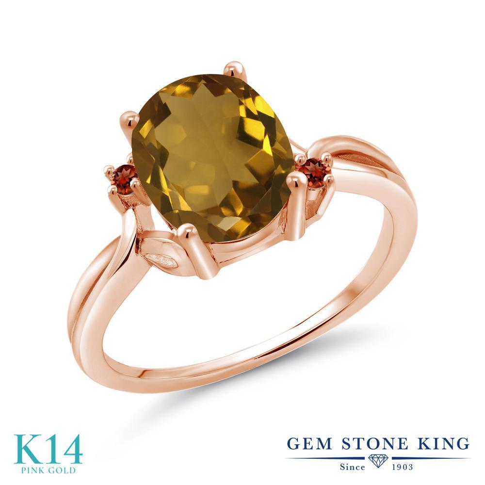 Gem Stone King 2.04カラット 天然石 ウィスキークォーツ 天然 ガーネット 14金 ピンクゴールド(K14) 指輪 リング レディース 大粒 シンプル 天然石 金属アレルギー対応 誕生日プレゼント