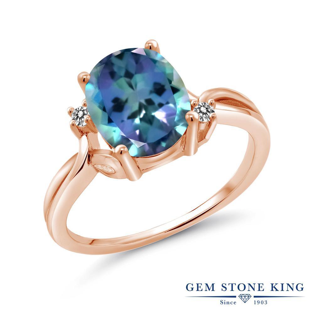 Gem Stone King 3.03カラット 天然ミスティックトパーズ(ミレニアムブルー) 天然ダイヤモンド シルバー 925 ローズゴールドコーティング 指輪 リング レディース 大粒 シンプル 天然石 金属アレルギー対応 誕生日プレゼント