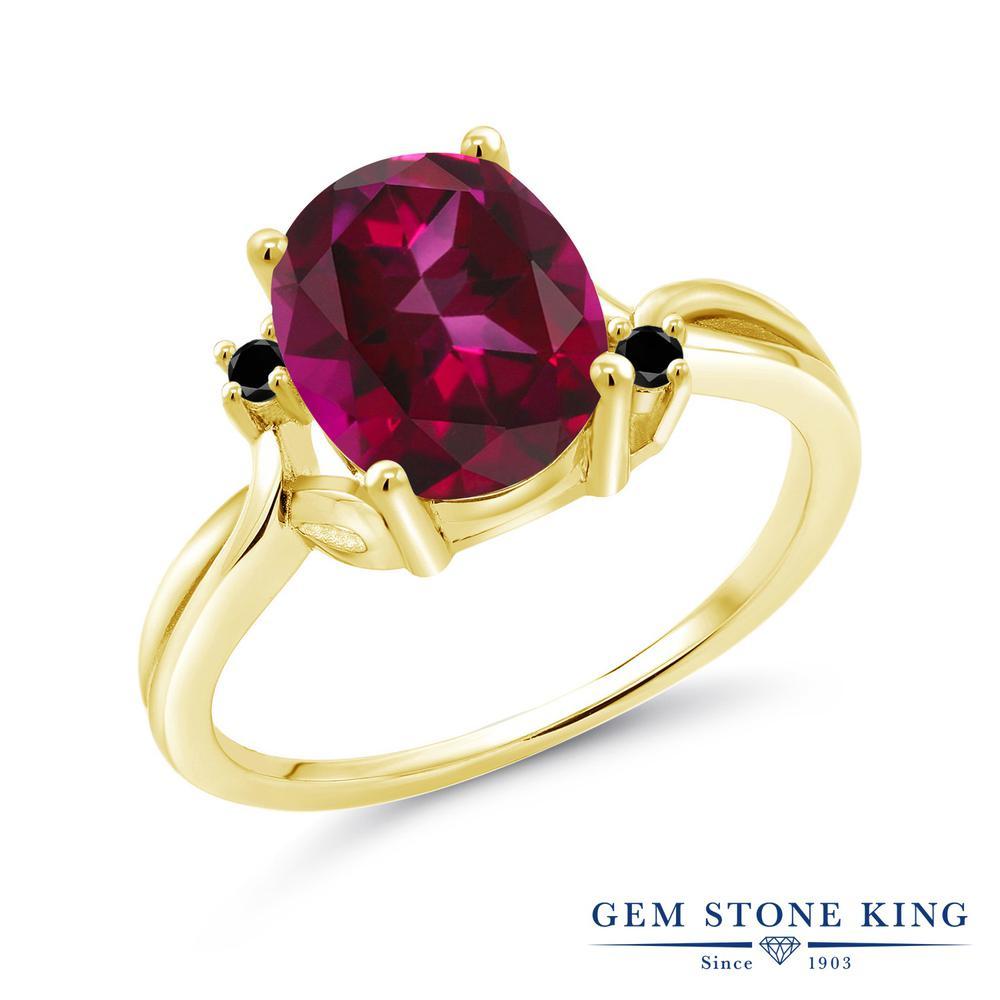 Gem Stone King 3.03カラット 天然石 レッドトパーズ (スワロフスキー 天然石) ブラックダイヤモンド 指輪 リング レディース シルバー925 イエローゴールド 加工 大粒 シンプル 金属アレルギー対応