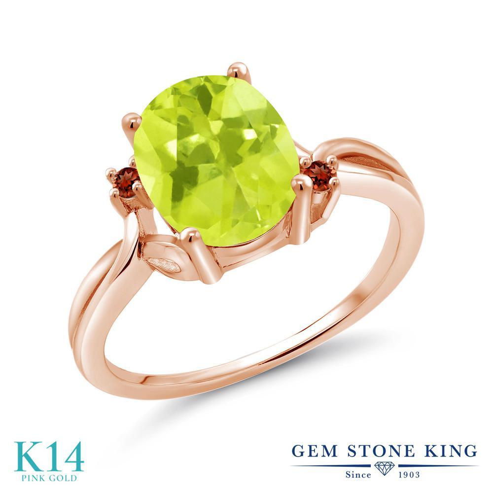 Gem Stone King 2.04カラット 天然 レモンクォーツ 天然 ガーネット 14金 ピンクゴールド(K14) 指輪 リング レディース 大粒 シンプル 天然石 金属アレルギー対応 誕生日プレゼント