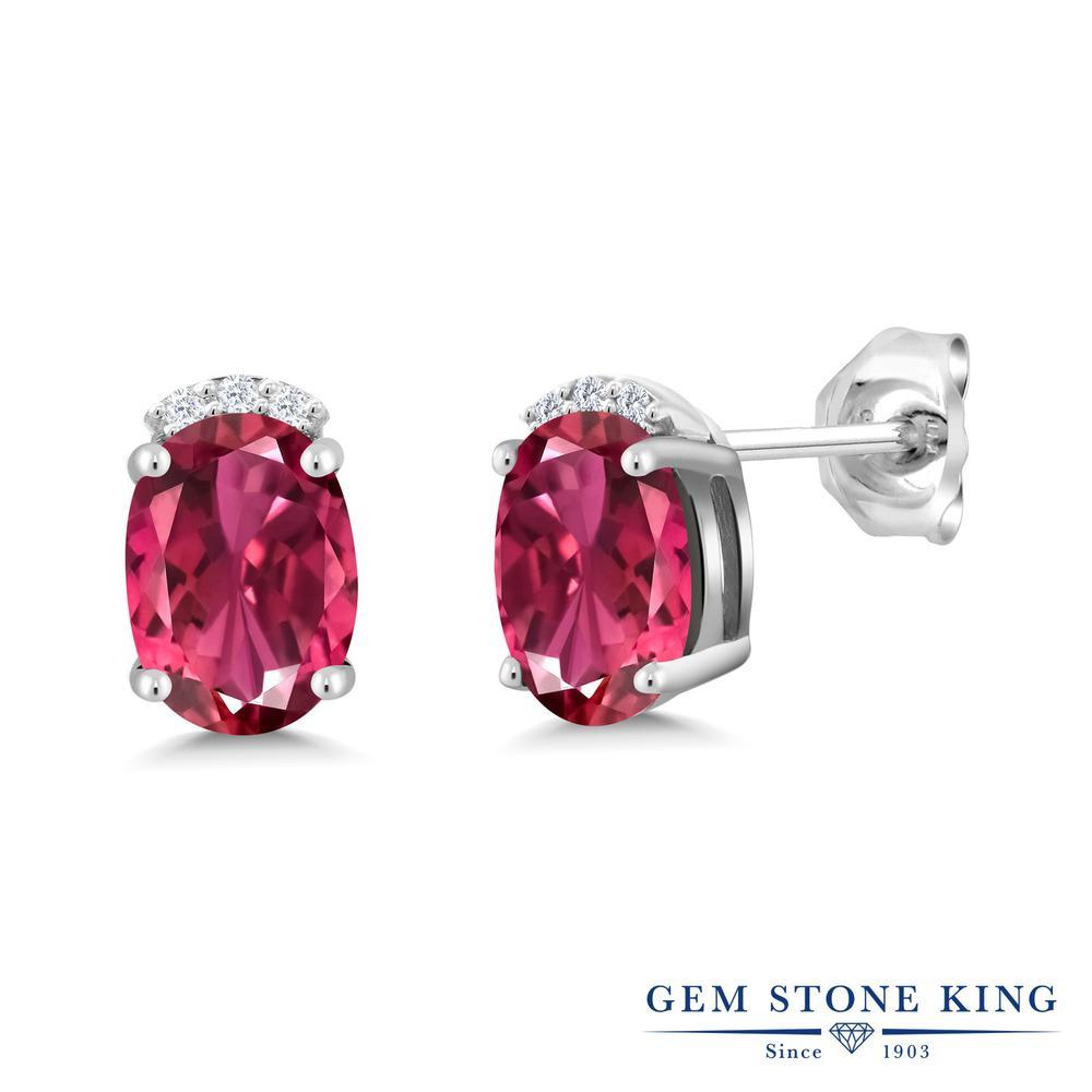 Gem Stone King 1.78カラット 天然 ピンクトルマリン シルバー925 ピアス レディース スタッド 天然石 10月 誕生石 金属アレルギー対応 誕生日プレゼント