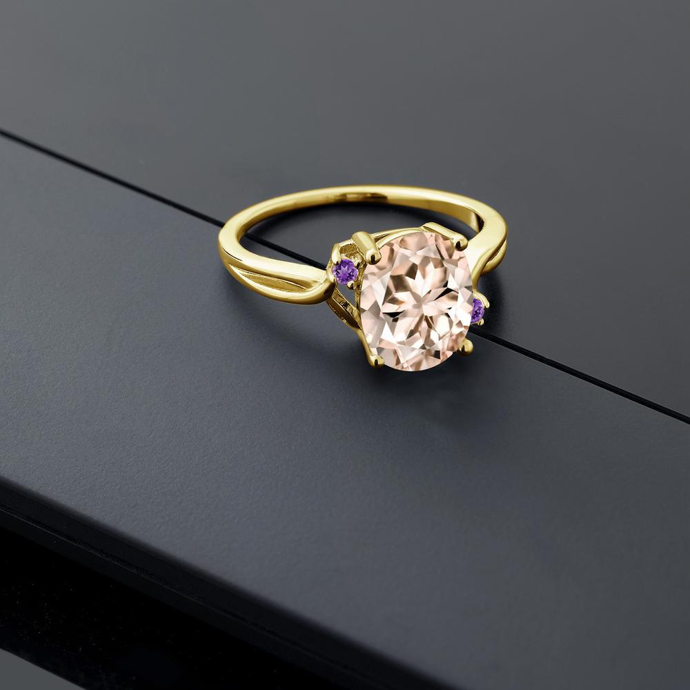 2 04カラット 天然モルガナイト ピーチ天然アメジスト 14金 イエローゴールド K14指輪 レディース リング 大粒 シンプル 天然石 誕生石 金属アレルギー対応 誕生日プレゼントm0vnwN8