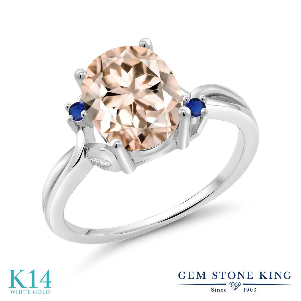 Gem Stone King 2.04カラット 天然 モルガナイト (ピーチ) シミュレイテッド サファイア 14金 ホワイトゴールド(K14) 指輪 リング レディース 大粒 シンプル 天然石 3月 誕生石 金属アレルギー対応 誕生日プレゼント