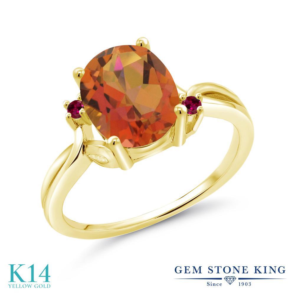 Gem Stone King 2.73カラット 天然 ミスティッククォーツ (トワイライトオレンジ) 合成ルビー 14金 イエローゴールド(K14) 指輪 リング レディース 大粒 シンプル 天然石 金属アレルギー対応 誕生日プレゼント