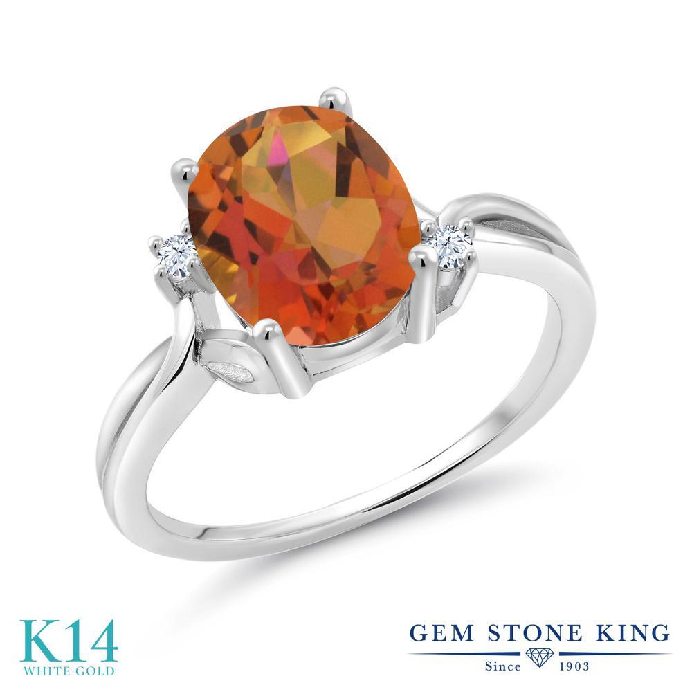 Gem Stone King 2.73カラット 天然 ミスティッククォーツ (トワイライトオレンジ) 合成ホワイトサファイア (ダイヤのような無色透明) 14金 ホワイトゴールド(K14) 指輪 リング レディース 大粒 シンプル 天然石 金属アレルギー対応 誕生日プレゼント