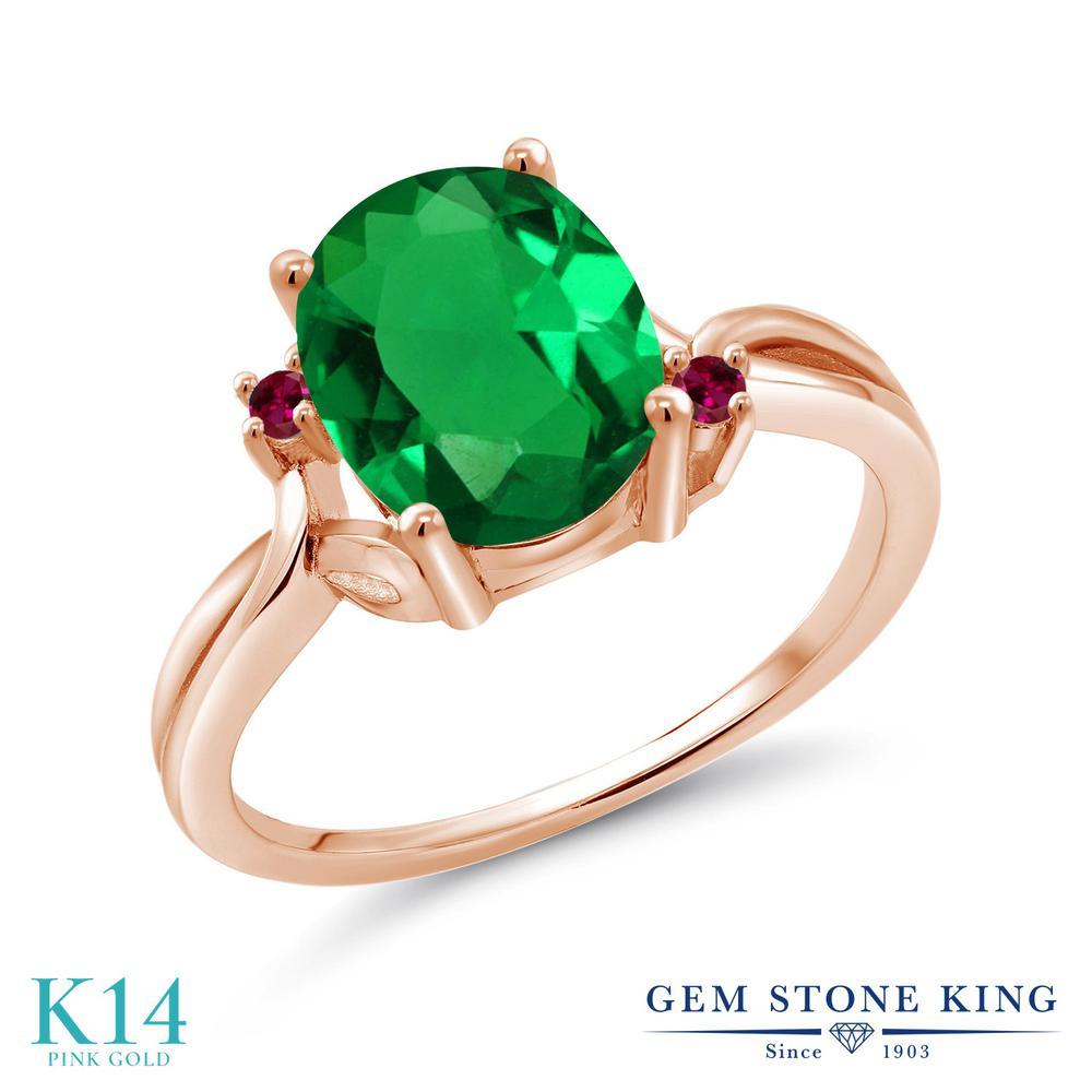 Gem Stone King 2.03カラット ナノエメラルド 合成ルビー 14金 ピンクゴールド(K14) 指輪 リング レディース 大粒 シンプル 金属アレルギー対応 誕生日プレゼント