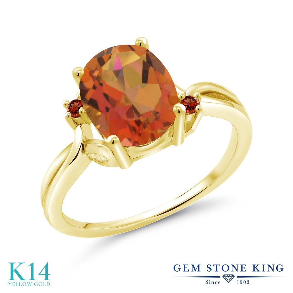 Gem Stone King 2.74カラット 天然 ミスティッククォーツ (トワイライトオレンジ) 天然 ガーネット 14金 イエローゴールド(K14) 指輪 リング レディース 大粒 シンプル 天然石 金属アレルギー対応 誕生日プレゼント
