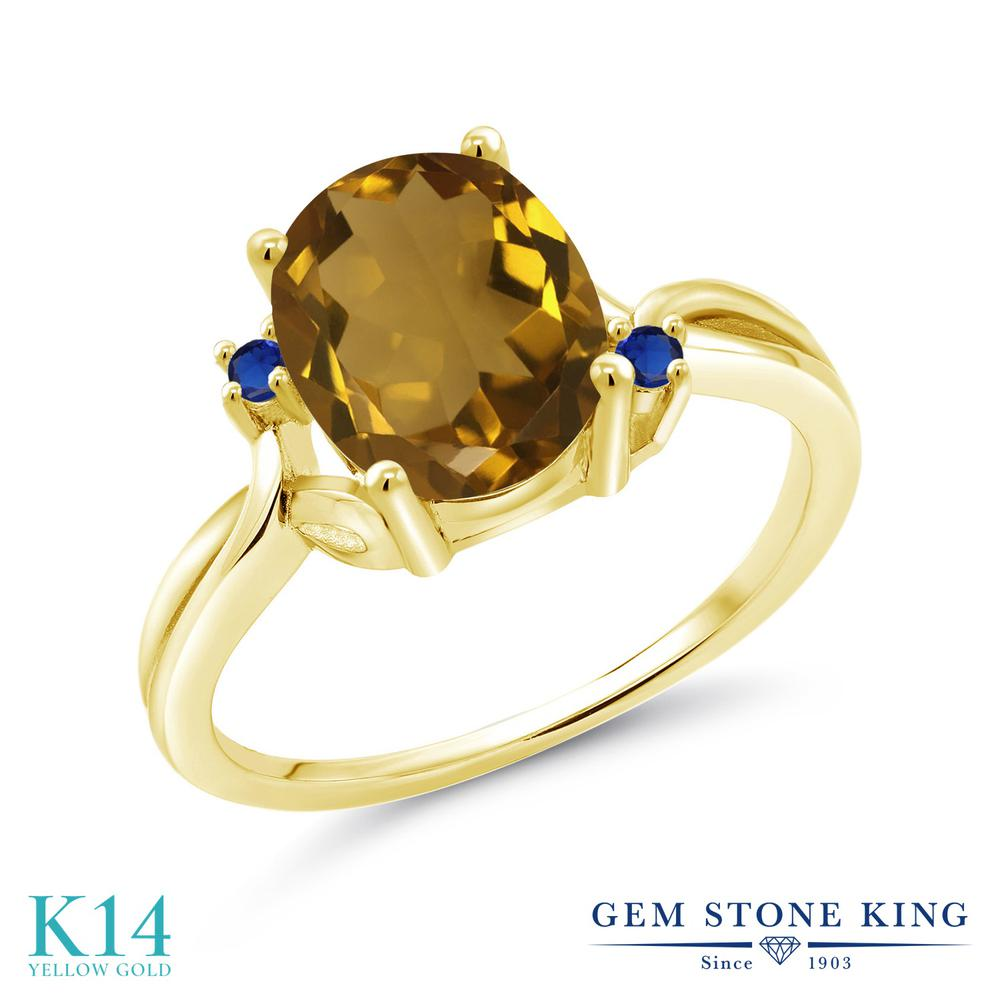 Gem Stone King 2.04カラット 天然石 ウィスキークォーツ シミュレイテッド サファイア 14金 イエローゴールド(K14) 指輪 リング レディース 大粒 シンプル 天然石 金属アレルギー対応 誕生日プレゼント