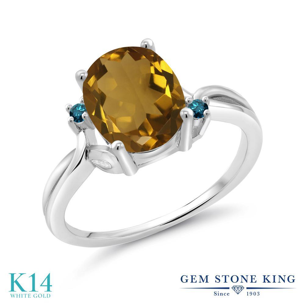 Gem Stone King 2.03カラット 天然石 ウィスキークォーツ 天然 ブルーダイヤモンド 14金 ホワイトゴールド(K14) 指輪 リング レディース 大粒 シンプル 天然石 金属アレルギー対応 誕生日プレゼント