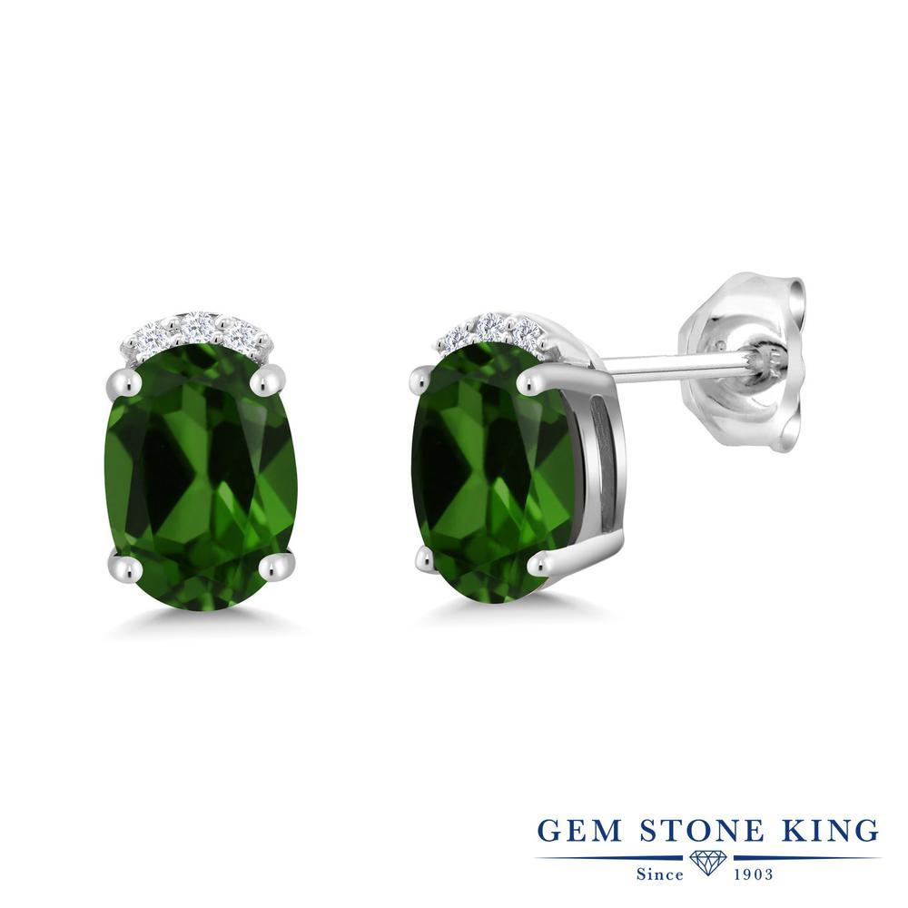 Gem Stone King 3.68カラット 天然 クロムダイオプサイド シルバー925 ピアス レディース 大粒 スタッド 天然石 金属アレルギー対応 誕生日プレゼント
