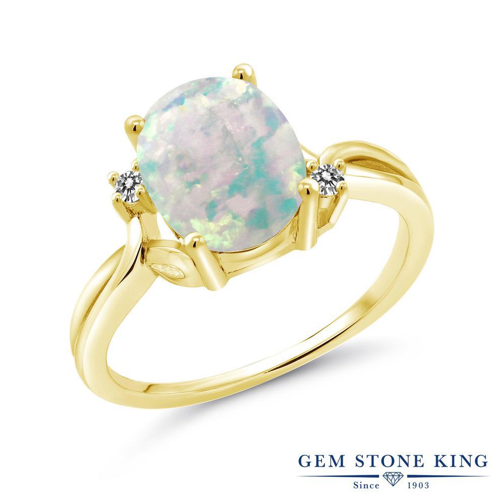 Gem Stone King 1.73カラット シミュレイテッド ホワイトオパール 天然 ダイヤモンド シルバー925 イエローゴールドコーティング 指輪 リング レディース 大粒 シンプル 10月 誕生石 金属アレルギー対応 誕生日プレゼント