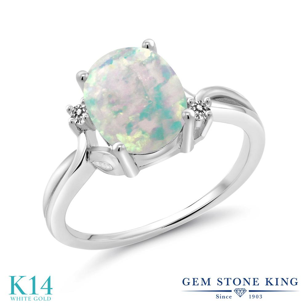 【10%OFF】 1.73カラット シミュレイテッド ホワイトオパール 指輪 レディース リング 天然 ダイヤモンド 14金 ホワイトゴールド K14 ブランド おしゃれ 白 大粒 シンプル 10月 誕生石 プレゼント 女性 彼女 妻 誕生日