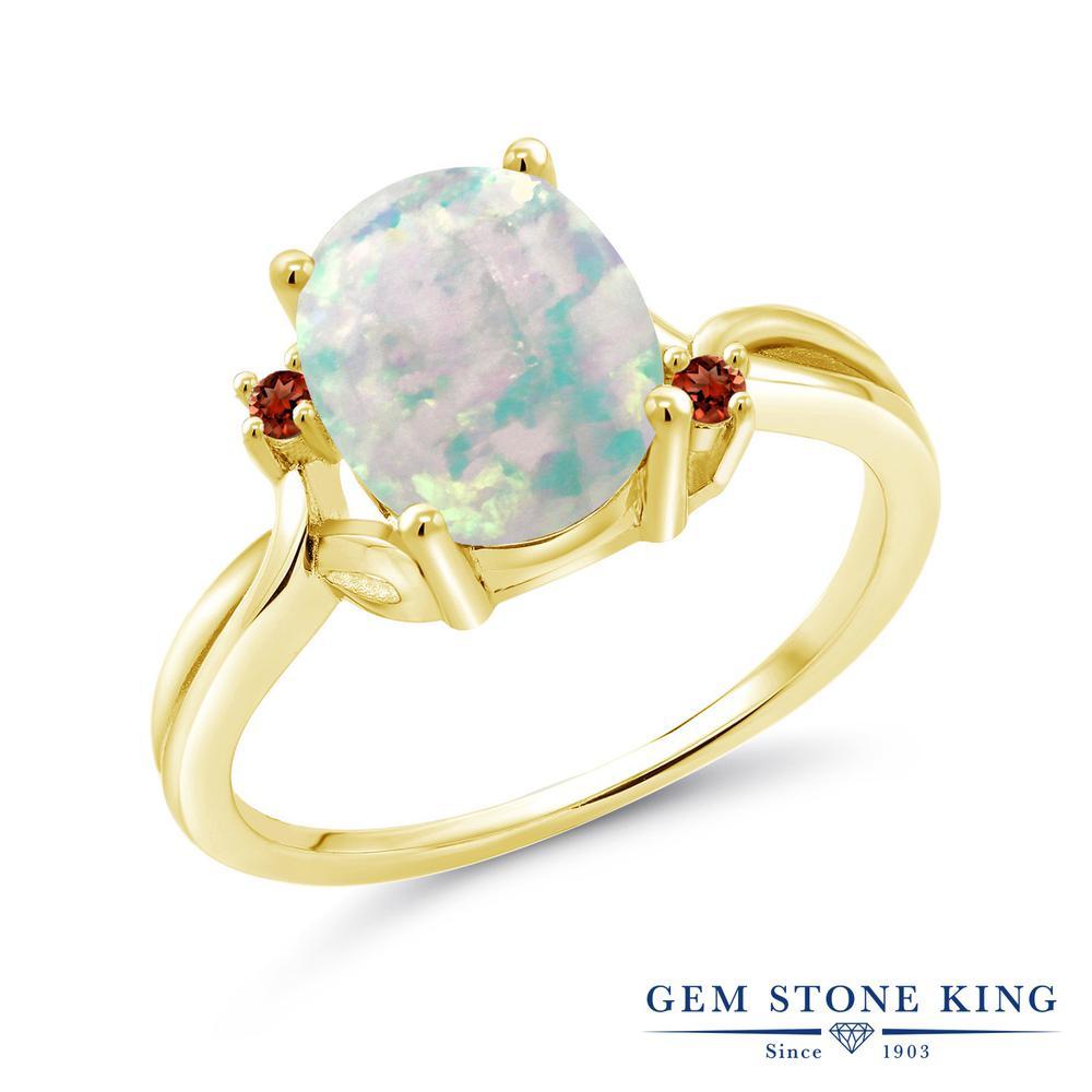 Gem Stone King 1.74カラット シミュレイテッド ホワイトオパール 天然 ガーネット シルバー925 イエローゴールドコーティング 指輪 リング レディース 大粒 シンプル 10月 誕生石 金属アレルギー対応 誕生日プレゼント