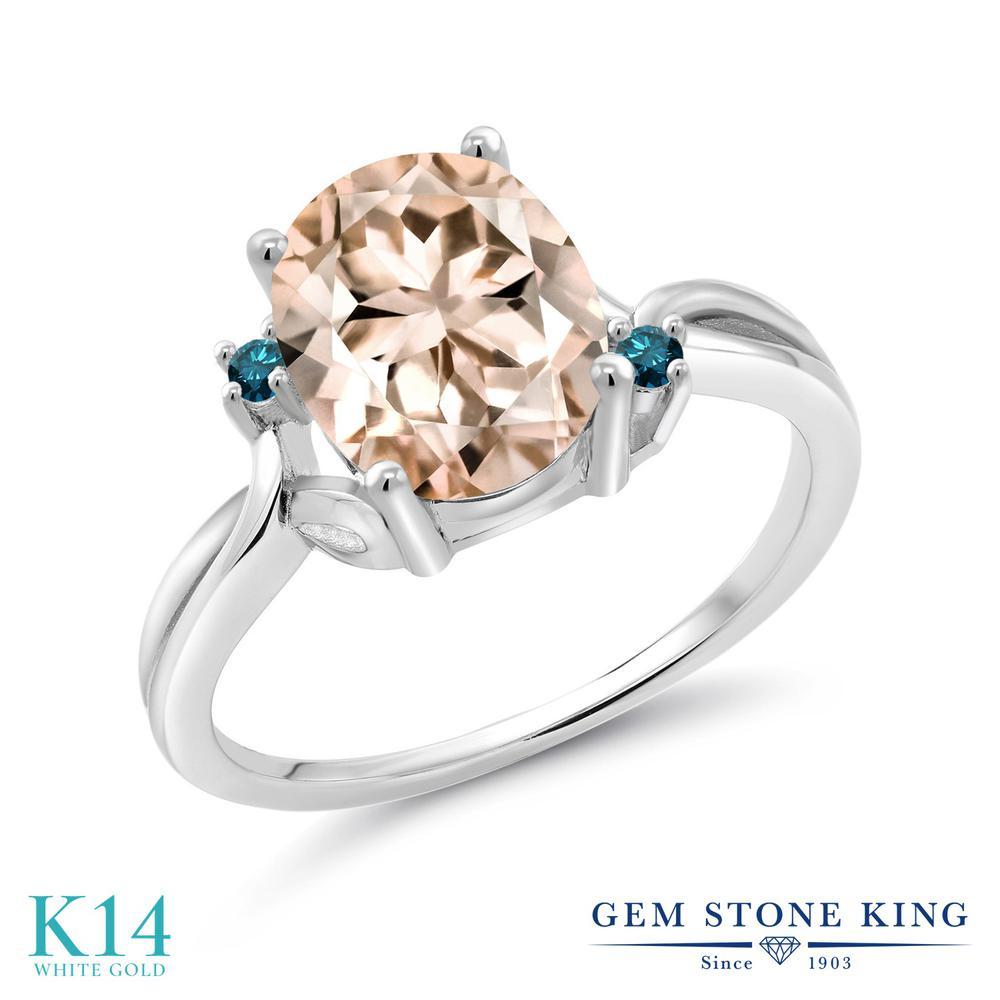 Gem Stone King 2.03カラット 天然 モルガナイト (ピーチ) 天然 ブルーダイヤモンド 14金 ホワイトゴールド(K14) 指輪 リング レディース 大粒 シンプル 天然石 3月 誕生石 金属アレルギー対応 誕生日プレゼント