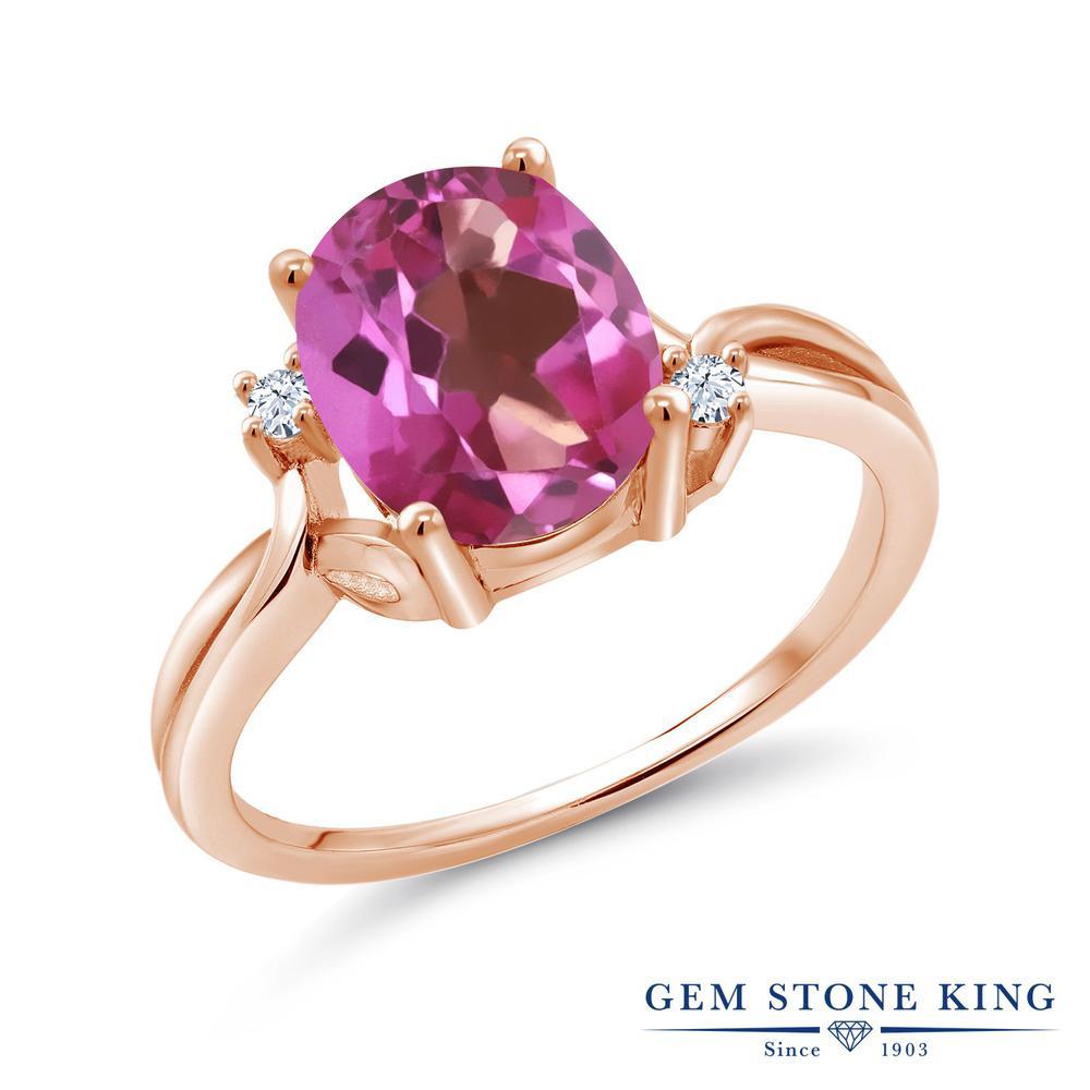 Gem Stone King 3.28カラット 天然ミスティックトパーズ(ピンク) 合成ホワイトサファイア(ダイヤのような無色透明) シルバー 925 ローズゴールドコーティング 指輪 リング レディース 大粒 シンプル 天然石 金属アレルギー対応 誕生日プレゼント
