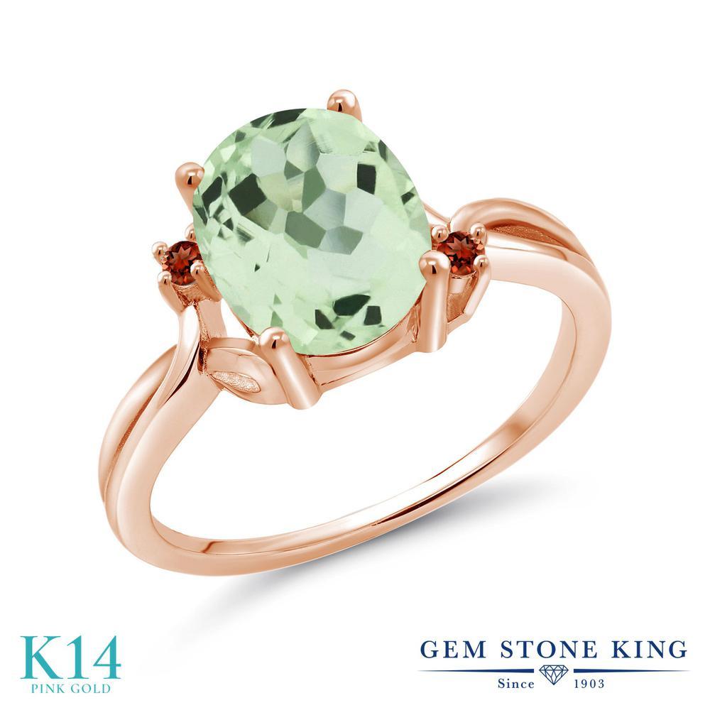 Gem Stone King 2.44カラット 天然 プラジオライト (グリーンアメジスト) 天然 ガーネット 14金 ピンクゴールド(K14) 指輪 リング レディース 大粒 シンプル 天然石 金属アレルギー対応 誕生日プレゼント