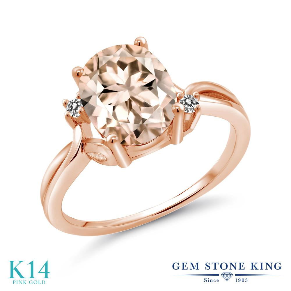 Gem Stone King 2.03カラット 天然 モルガナイト (ピーチ) 天然 ダイヤモンド 14金 ピンクゴールド(K14) 指輪 リング レディース 大粒 シンプル 天然石 3月 誕生石 金属アレルギー対応 誕生日プレゼント