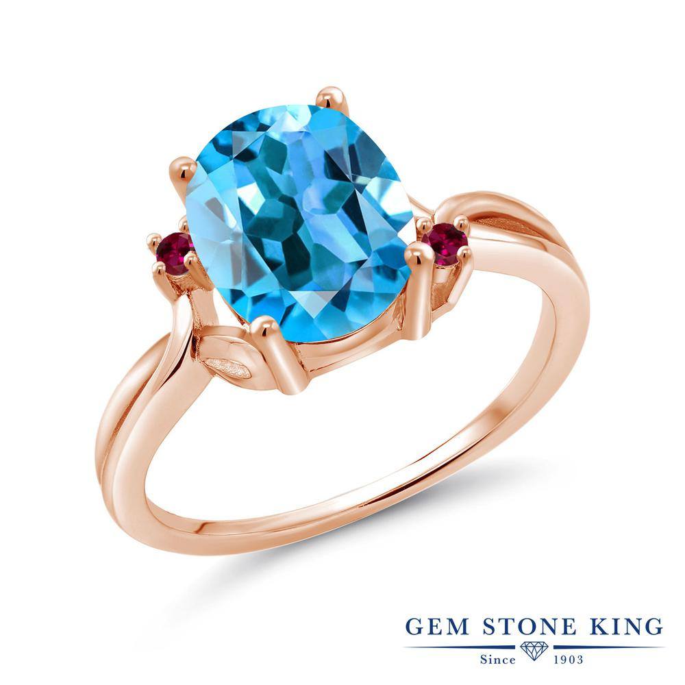 Gem Stone King 3.23カラット 天然トパーズ(スイスブルー) 合成ルビー シルバー 925 ローズゴールドコーティング 指輪 リング レディース 大粒 シンプル 天然石 誕生石 金属アレルギー対応 誕生日プレゼント
