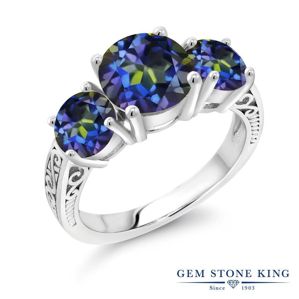4カラット 天然石 ミスティックトパーズ (ブルー) 指輪 レディース リング シルバー925 ブランド おしゃれ アラベスク 細工 青 大粒 シンプル スリーストーン 金属アレルギー対応