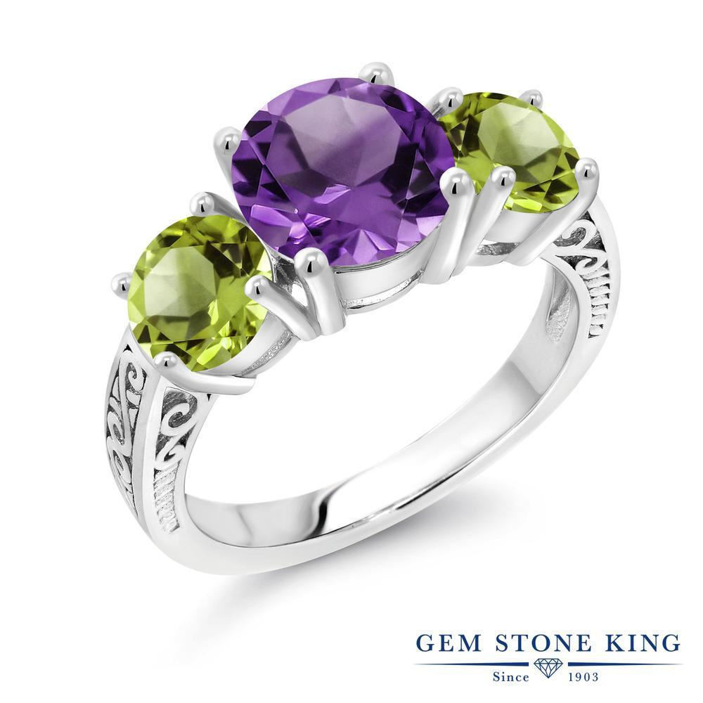 Gem Stone King 3.7カラット 天然アメジスト 天然石ペリドット シルバー925 指輪 リング レディース 大粒 シンプル スリーストーン 天然石 誕生石 金属アレルギー対応 誕生日プレゼント