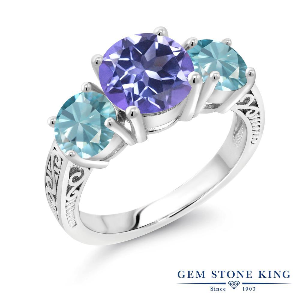 Gem Stone King 4.4カラット 天然 ミスティックトパーズ (タンザナイトブルー) 天然石 ブルージルコン シルバー925 指輪 リング レディース 大粒 シンプル スリーストーン 天然石 金属アレルギー対応 誕生日プレゼント
