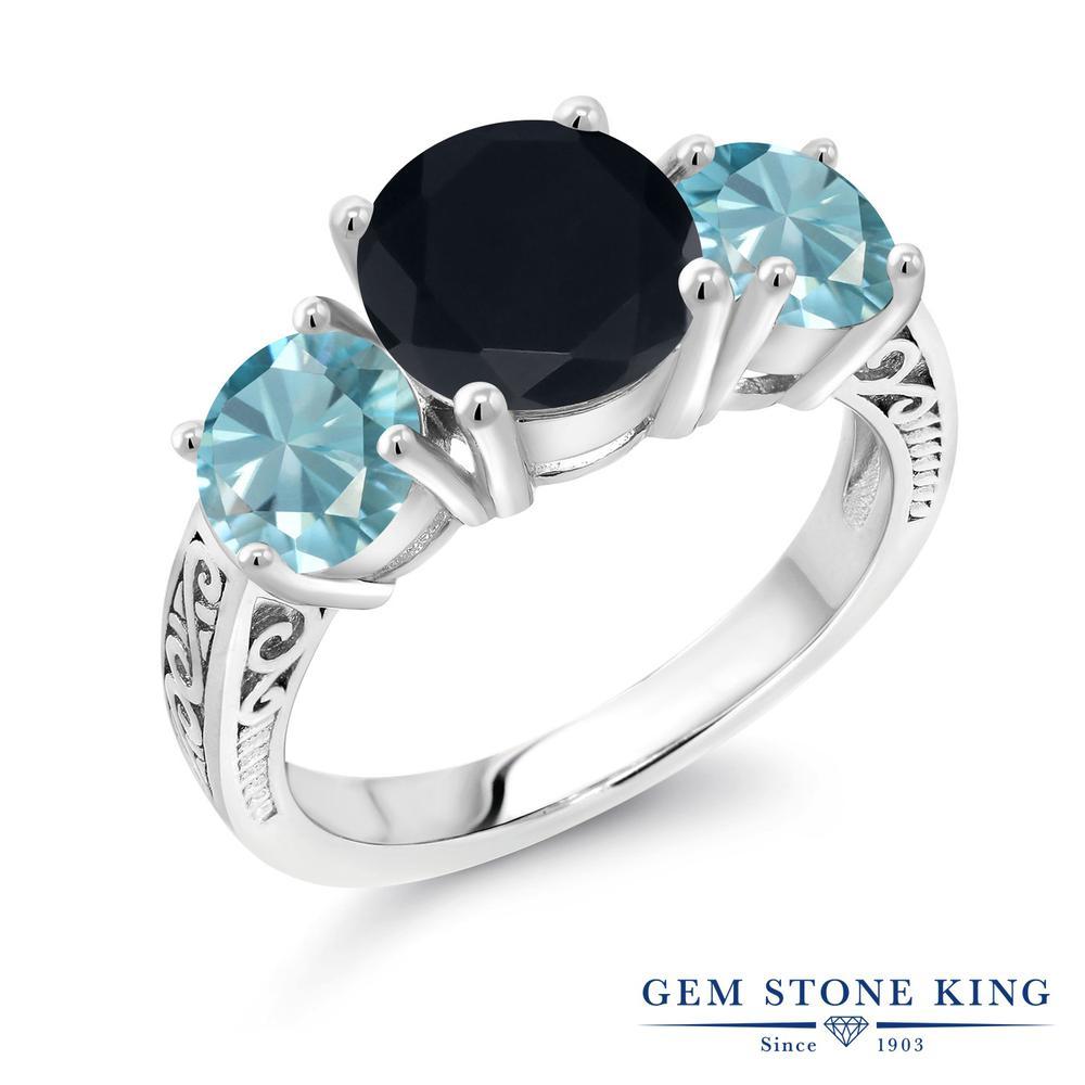 Gem Stone King 4.05カラット 天然 オニキス 天然石 ブルージルコン シルバー925 指輪 リング レディース 大粒 シンプル スリーストーン 天然石 8月 誕生石 金属アレルギー対応 誕生日プレゼント