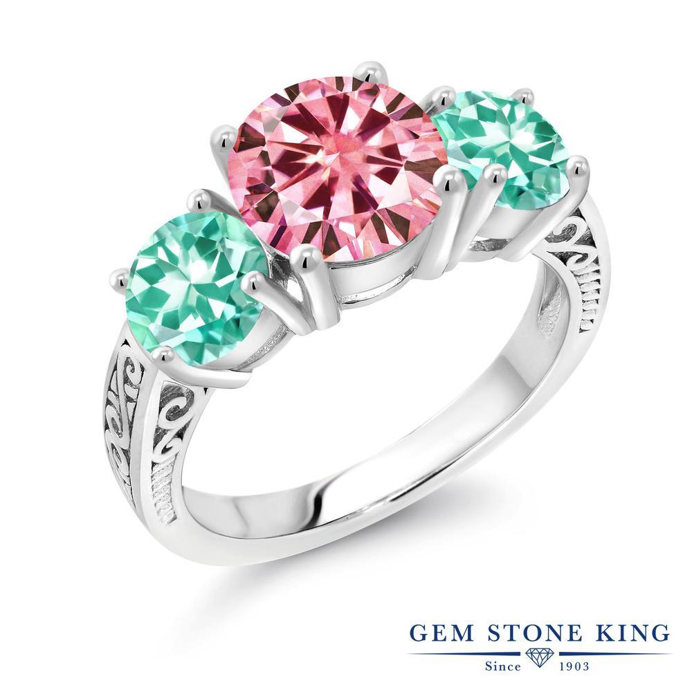 Gem Stone King 3.54カラット ピンク モアサナイト Charles & Colvard 天然 アパタイト シルバー925 指輪 リング レディース モアッサナイト 大粒 スリーストーン シンプル 金属アレルギー対応 誕生日プレゼント