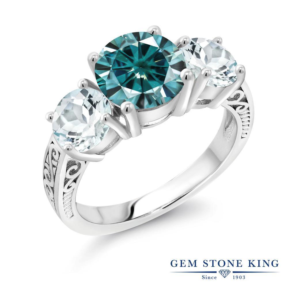 Gem Stone King 3.4カラット ブルー モアサナイト Charles & Colvard 天然 アクアマリン シルバー925 指輪 リング レディース モアッサナイト 大粒 スリーストーン シンプル 金属アレルギー対応 誕生日プレゼント