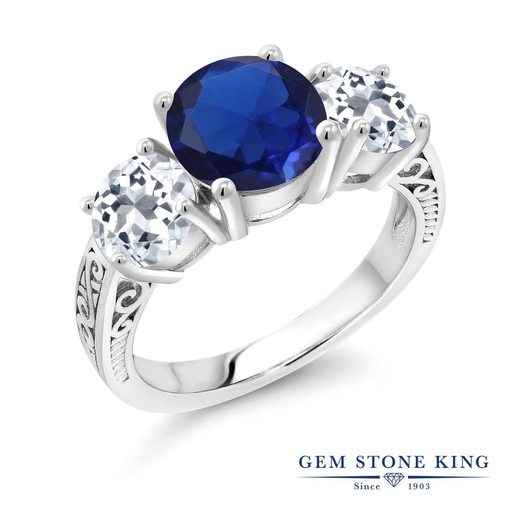 Gem Stone King 4.3カラット シミュレイテッドサファイア 天然トパーズ(無色透明) シルバー925 指輪 リング レディース 大粒 シンプル スリーストーン 金属アレルギー対応 誕生日プレゼント