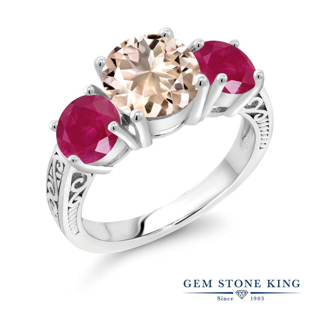 Gem Stone King 3.7カラット 天然 モルガナイト (ピーチ) 天然 ルビー シルバー925 指輪 リング レディース 大粒 シンプル スリーストーン 天然石 3月 誕生石 金属アレルギー対応 誕生日プレゼント