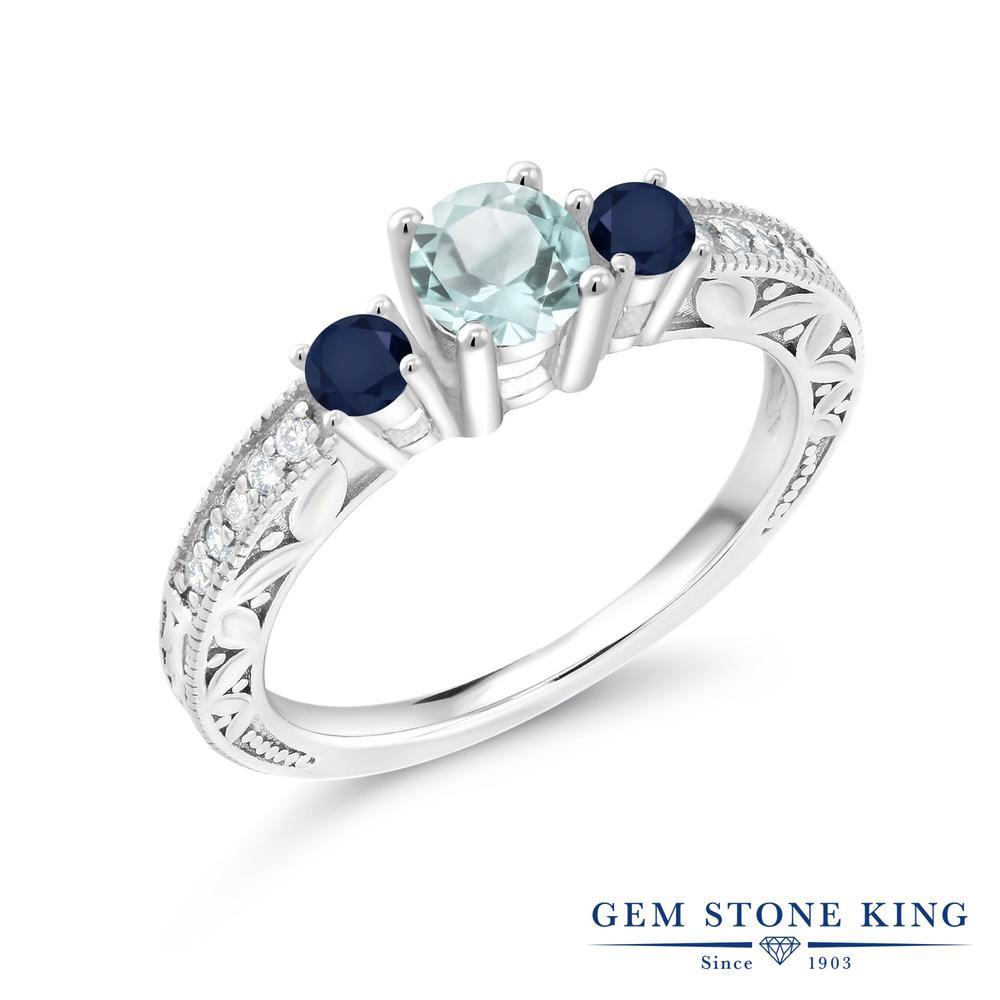 Gem Stone King 1.09カラット 天然 スカイブルートパーズ サファイア 指輪 リング レディース シルバー925 天然石 11月 誕生石 金属アレルギー対応