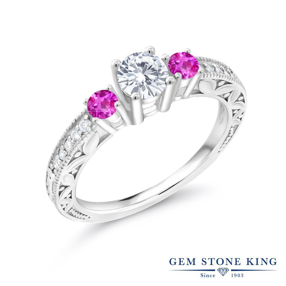 Gem Stone King 0.9カラット Forever Brilliant モアッサナイト Charles & Colvard ピンクサファイア シルバー925 指輪 リング レディース モアサナイト 小粒 金属アレルギー対応 婚約指輪 エンゲージリング
