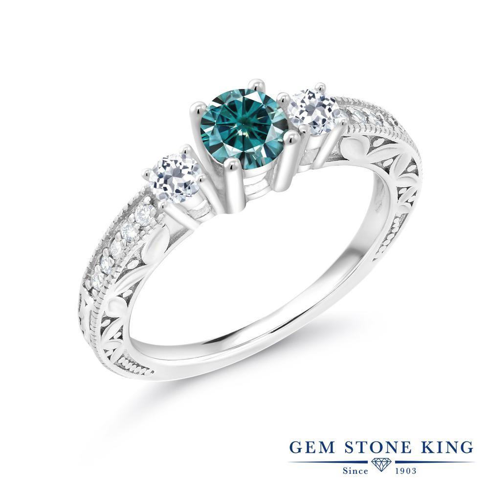 Gem Stone King 0.91カラット ブルー モアサナイト Charles & Colvard 天然 トパーズ 指輪 リング レディース シルバー925 モアッサナイト 小粒 金属アレルギー対応