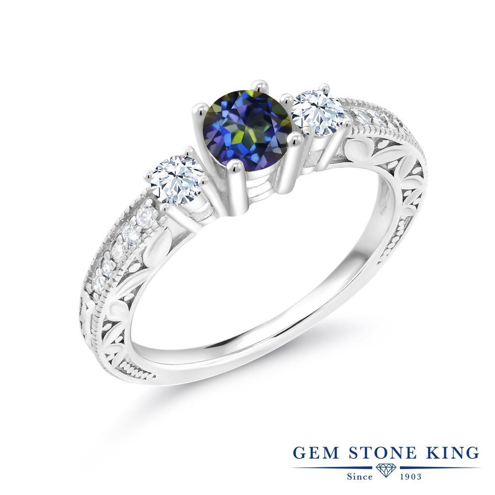 0.85カラット 天然石 ミスティックトパーズ (ブルー) 指輪 レディース リング シルバー925 ブランド おしゃれ リーフ ミル打ち 青 小粒 金属アレルギー対応