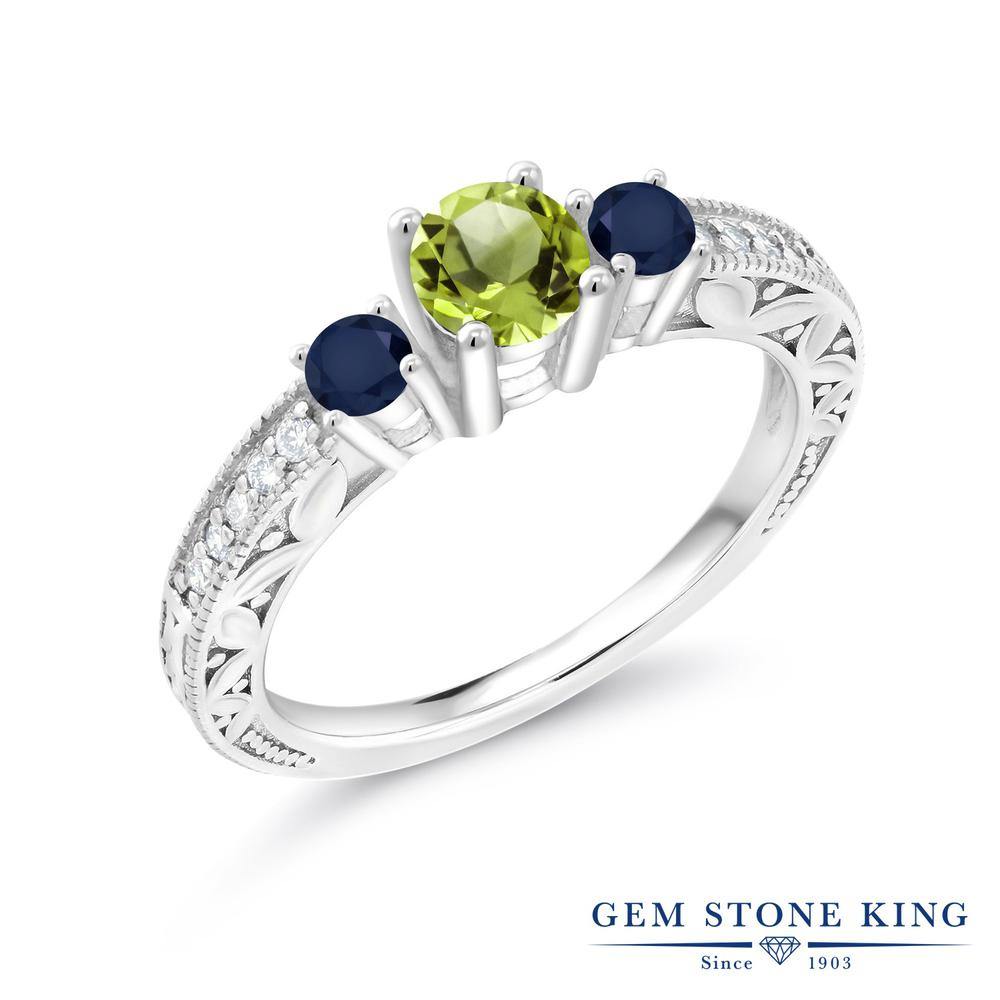 Gem Stone King 0.94カラット 天然石 ペリドット 天然 サファイア 指輪 リング レディース シルバー925 8月 誕生石 金属アレルギー対応