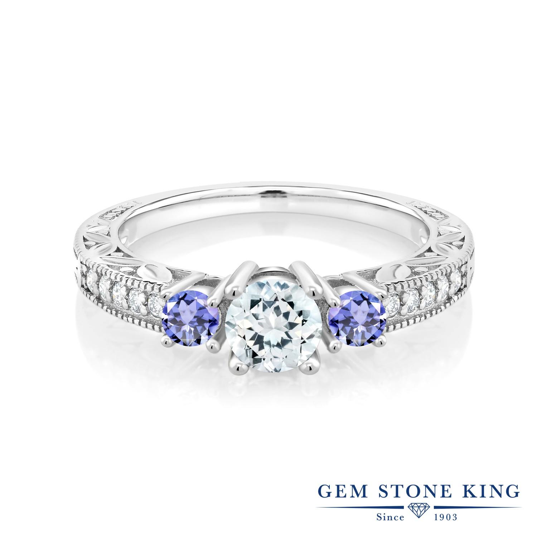 Gem Stone King 0.93カラット 天然 アクアマリン 天然石 タンザナイト 指輪 リング レディース シルバー925 小粒 3月 誕生石 金属アレルギー対応