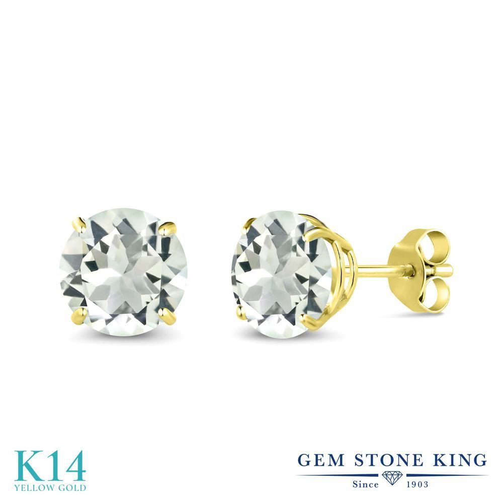 Gem Stone King 2.2カラット 天然 プラジオライト (グリーンアメジスト) 14金 イエローゴールド(K14) ピアス レディース 大粒 シンプル 天然石 金属アレルギー対応 誕生日プレゼント