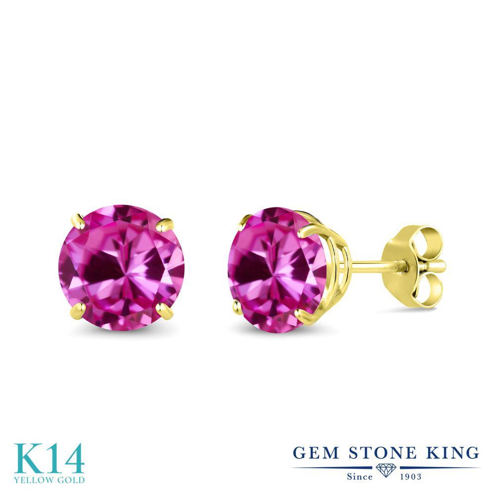 Gem Stone King 3.32カラット 合成ピンクサファイア 14金 イエローゴールド(K14) ピアス レディース 大粒 シンプル 金属アレルギー対応 誕生日プレゼント