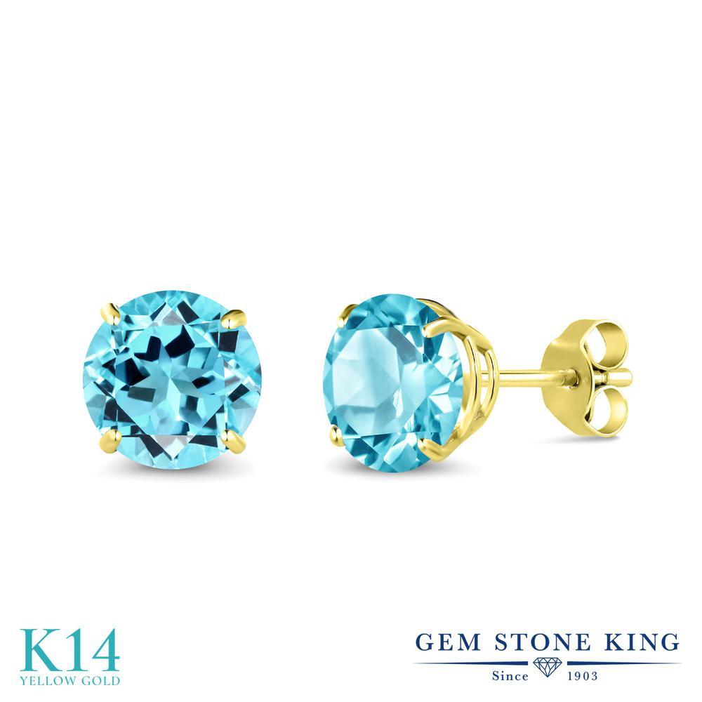 Gem Stone King 3.3カラット 天然 スイスブルートパーズ 14金 イエローゴールド(K14) ピアス レディース 大粒 シンプル 天然石 11月 誕生石 金属アレルギー対応 誕生日プレゼント