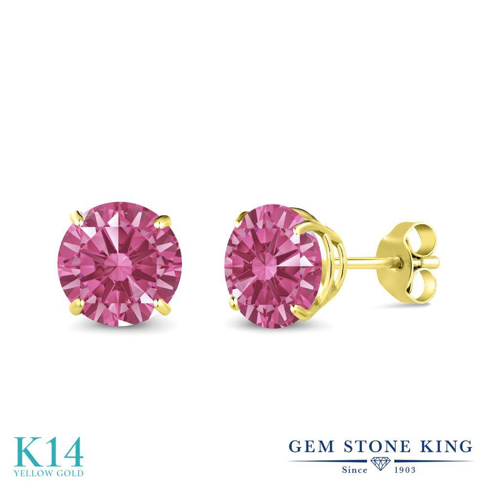 Gem Stone King スワロフスキージルコニア (レッド) 14金 イエローゴールド(K14) ピアス レディース CZ 大粒 シンプル 金属アレルギー対応 誕生日プレゼント