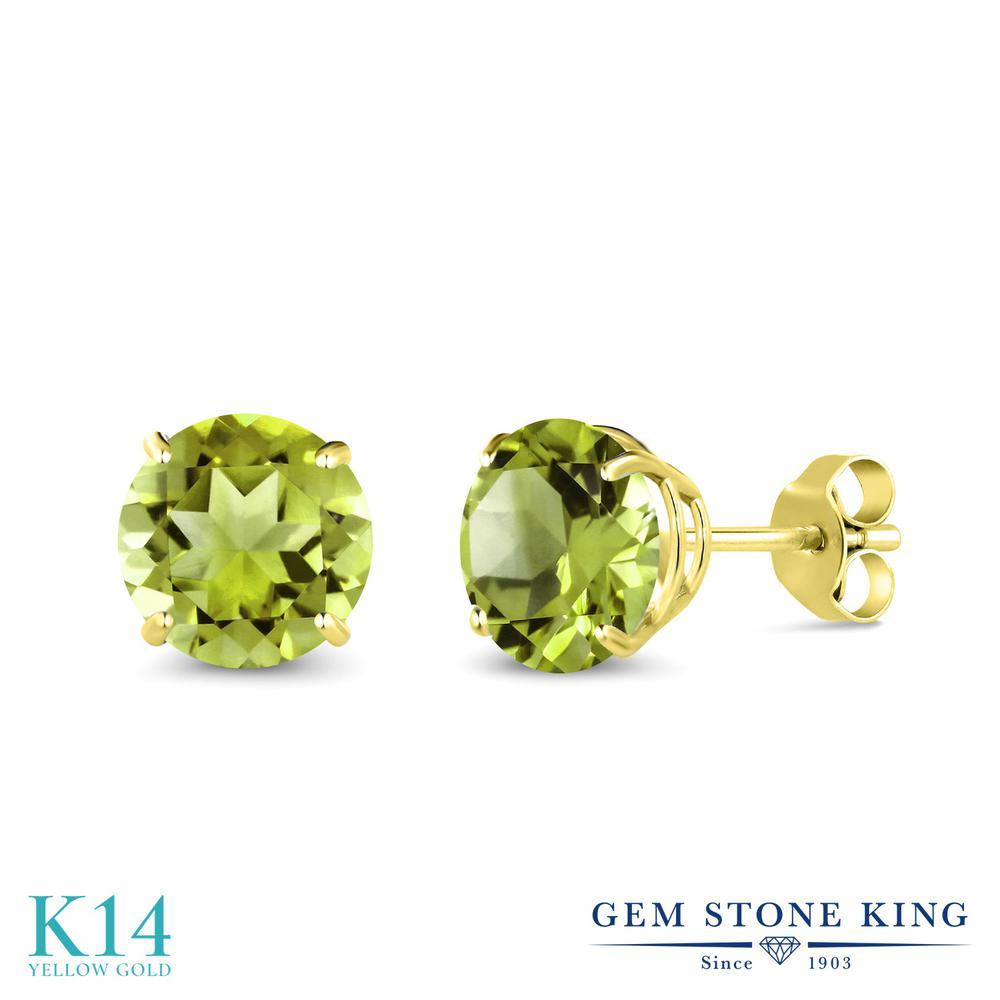 Gem Stone King 2.9カラット 天然石 ペリドット 14金 イエローゴールド(K14) ピアス レディース 大粒 シンプル 天然石 8月 誕生石 金属アレルギー対応 誕生日プレゼント