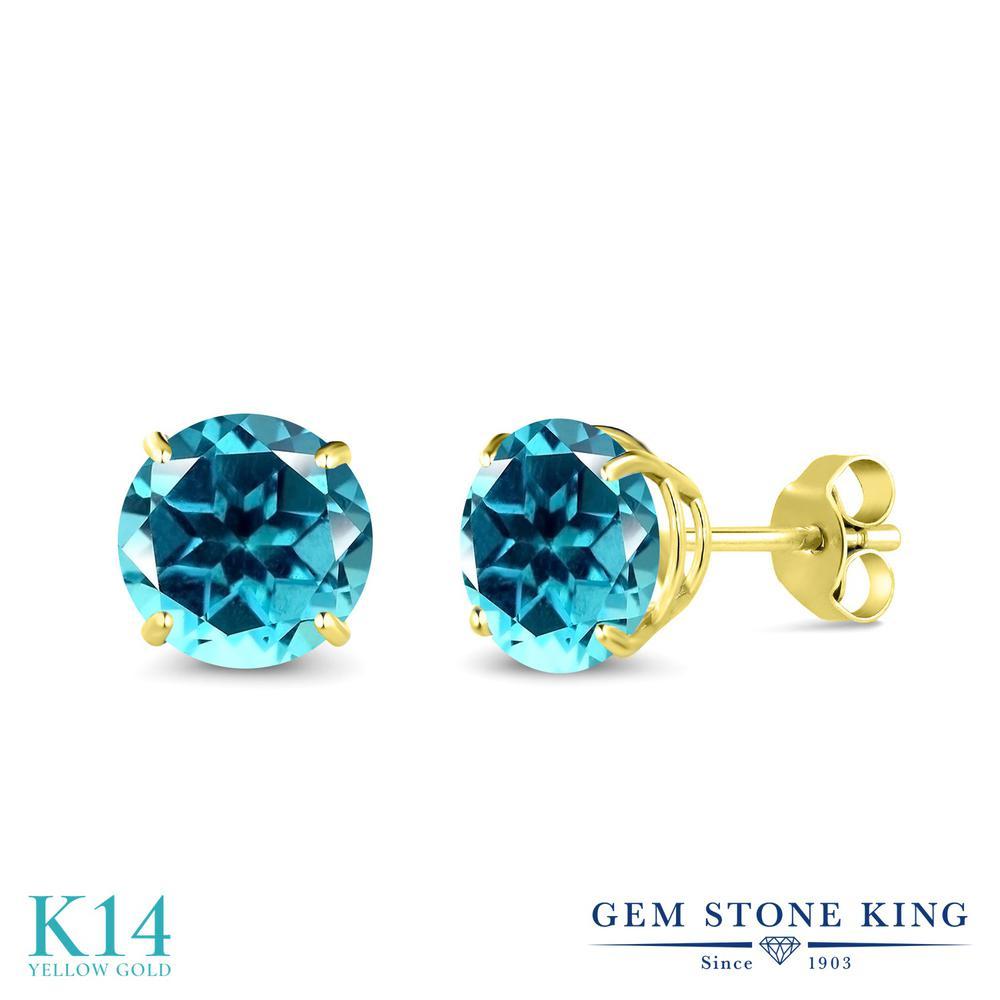 Gem Stone King 3.2カラット 天然石 パライバトパーズ (スワロフスキー 天然石シリーズ) 14金 イエローゴールド(K14) ピアス レディース 大粒 シンプル 天然石 金属アレルギー対応 誕生日プレゼント