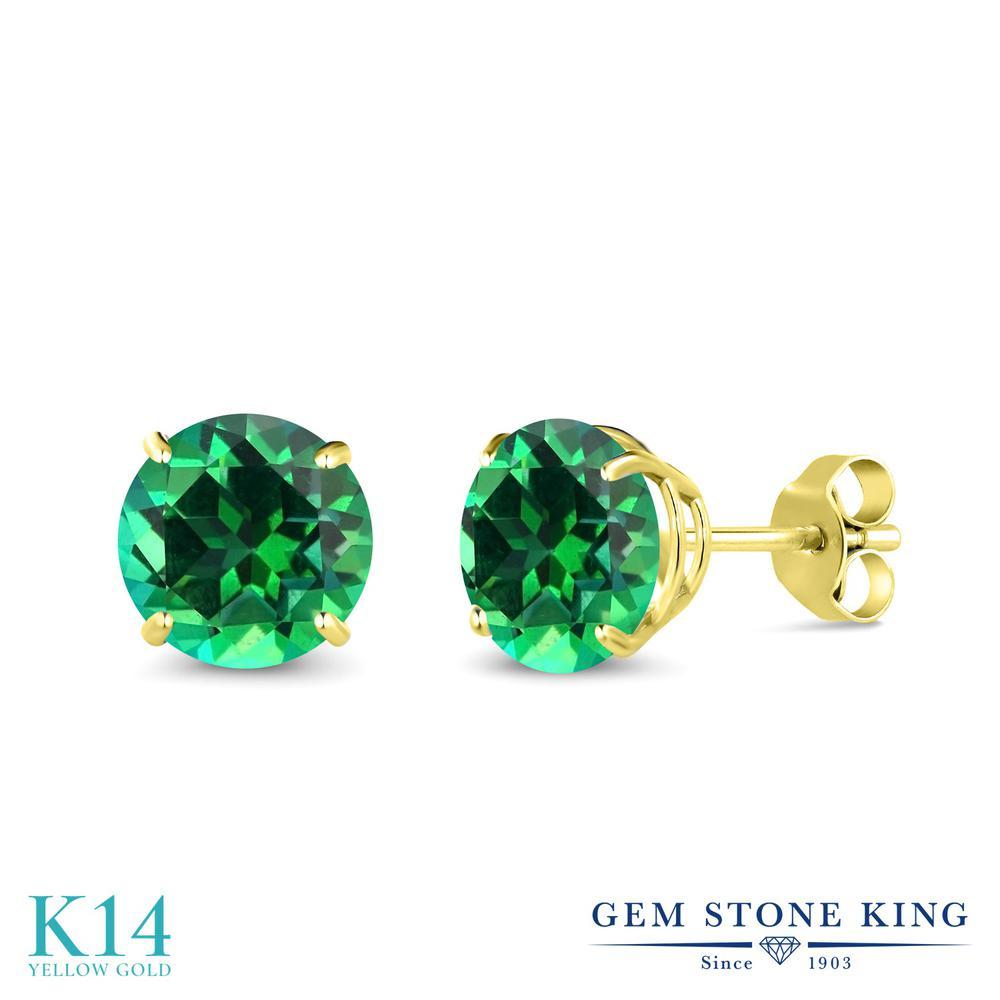 Gem Stone King 3カラット 天然石 トパーズ レインフォレスト (スワロフスキー 天然石シリーズ) 14金 イエローゴールド(K14) ピアス レディース 大粒 シンプル 天然石 金属アレルギー対応 誕生日プレゼント