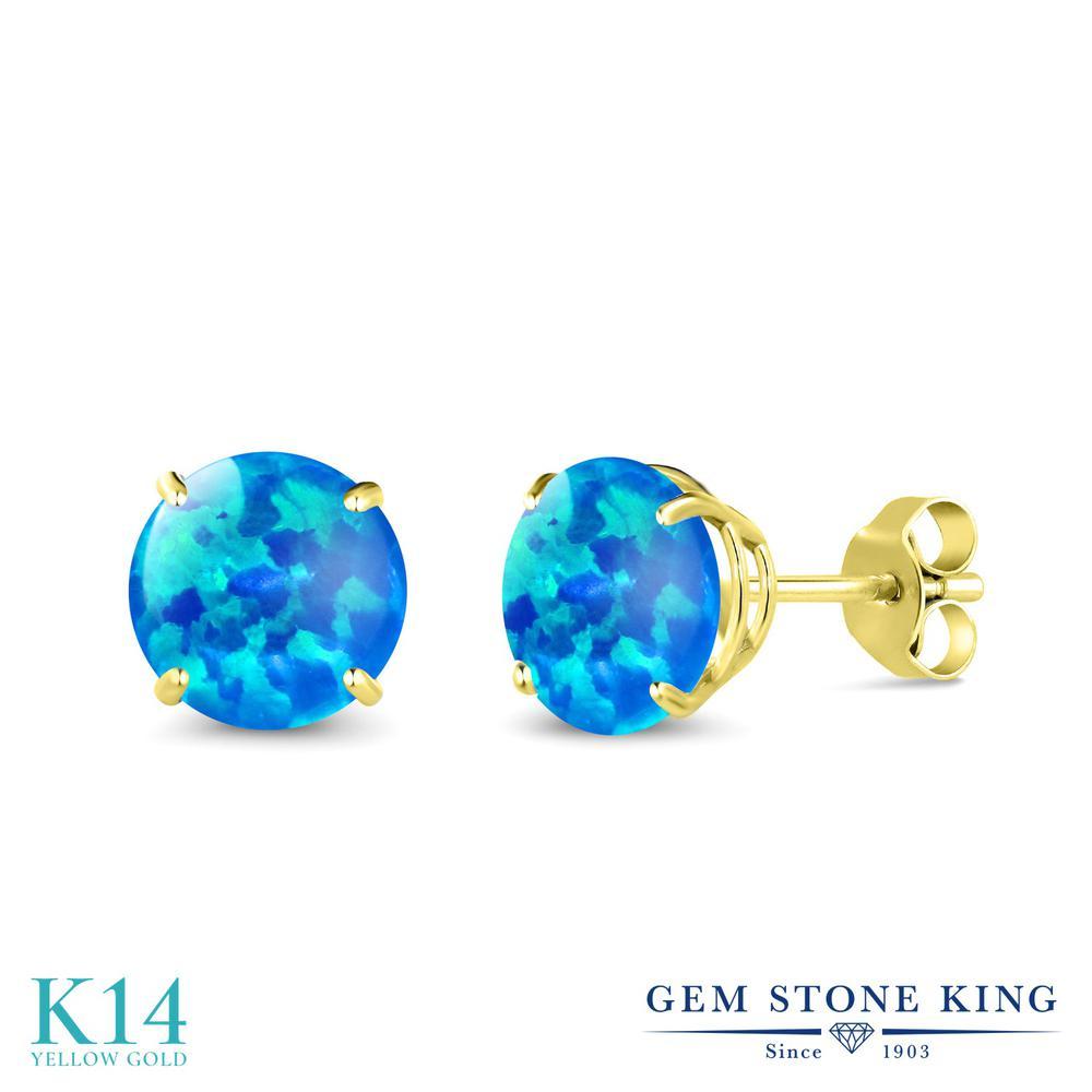 Gem Stone King 0.72カラット シミュレイテッド ブルーオパール 14金 イエローゴールド(K14) ピアス レディース 小粒 シンプル 10月 誕生石 金属アレルギー対応 誕生日プレゼント