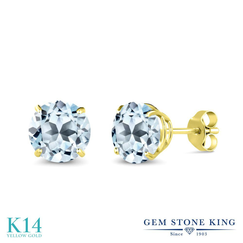 Gem Stone King 3.4カラット 天然 スカイブルートパーズ 14金 イエローゴールド(K14) ピアス レディース 大粒 シンプル 天然石 11月 誕生石 金属アレルギー対応 誕生日プレゼント