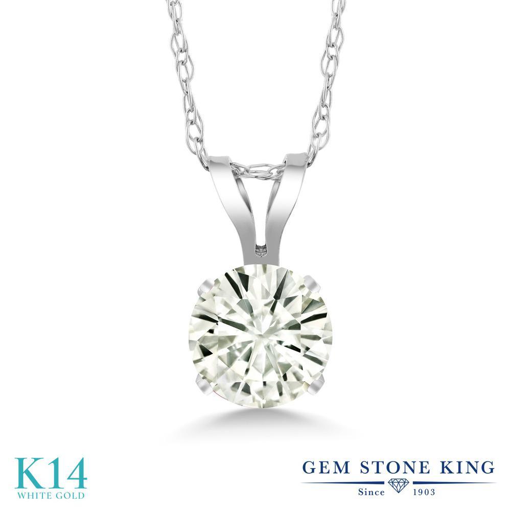 Gem Stone King 0.33カラット Forever Classic モアサナイト Charles & Colvard 14金 ホワイトゴールド(K14) ネックレス ペンダント レディース モアッサナイト 小粒 一粒 シンプル 金属アレルギー対応 誕生日プレゼント