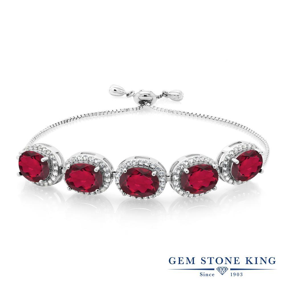 Gem Stone King 10.05カラット 天然 ミスティッククォーツ (ルビーレッド) シルバー925 ブレスレット レディース 大粒 大ぶり 天然石 金属アレルギー対応 誕生日プレゼント