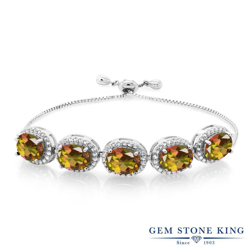 Gem Stone King 11.05カラット 天然石 ミスティックトパーズ (マンゴーオレンジ) シルバー925 ブレスレット レディース 大粒 大ぶり 天然石 金属アレルギー対応 誕生日プレゼント